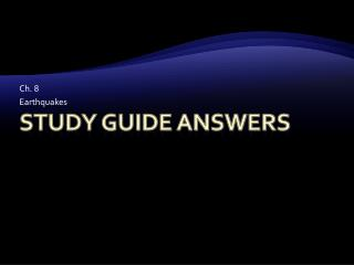 Study Guide Answers