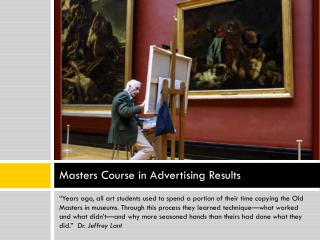 Masters Course in Advertising Results