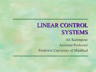 LINEAR CONTROL  SYSTEMS