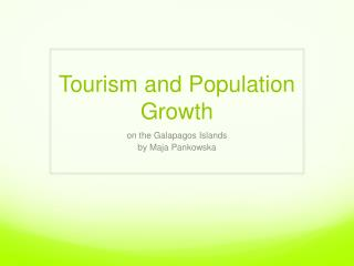 Tourism and Population Growth