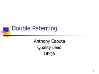 Double Patenting