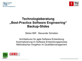 "Technologieberatung ""Best-Practice Software Engineering"" Backup-Slides"