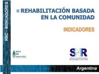 REHABILITACIÓN BASADA EN LA COMUNIDAD                                         INDICADORES