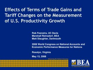 Effects of Terms of Trade Gains and Tariff Changes on the Measurement of U.S. Productivity Growth