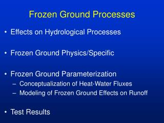 Frozen Ground Processes