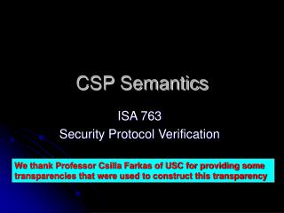 CSP Semantics