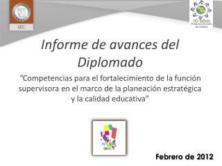 Informe de avances del Diplomado