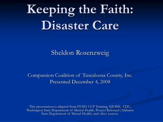 Keeping the Faith:   Disaster Care