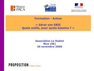 Formation - Action « Gérer son ERIC Quels outils, pour quels besoins ?»
