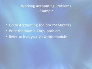Working Accounting Problems  Example