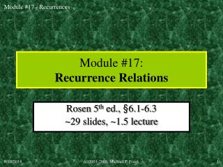 Module #17: Recurrence Relations