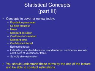 Statistical Concepts (part III)