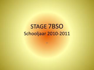 STAGE 7BSO Schooljaar 2010-2011