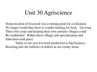 Unit 30 Agriscience