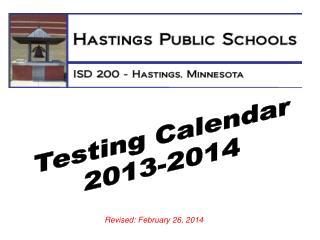 Testing Calendar 2013-2014