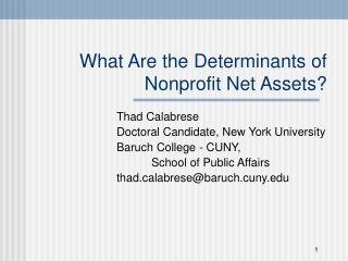 What Are the Determinants of  Nonprofit Net Assets