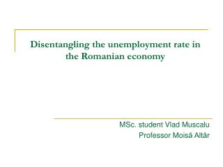 Disentangling the unemployment rate in the Romanian economy