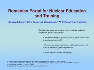 Romanian Portal for Nuclear Education and Training
