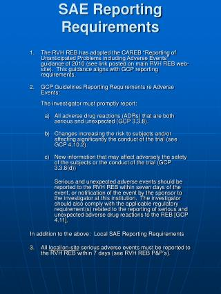 SAE Reporting Requirements