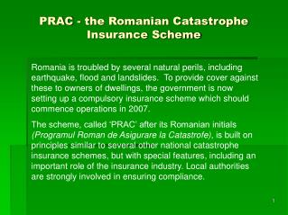 PRAC - the Romanian Catastrophe Insurance Scheme
