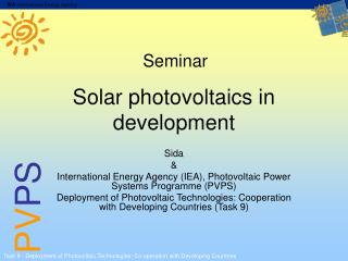Solar photovoltaics in development