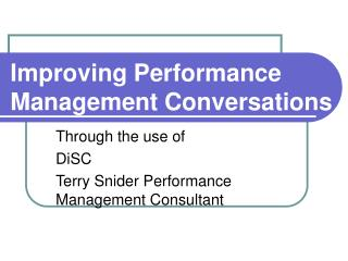 Improving Performance Management Conversations