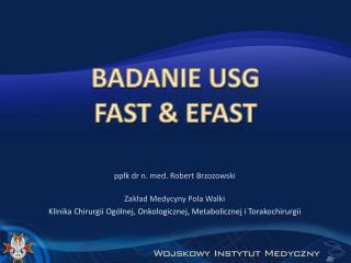 Badanie usg FAST & eFAST