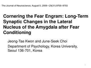 Jeong-Tae Kwon and June-Seek Choi Department of Psychology, Korea University, Seoul 136-701, Korea