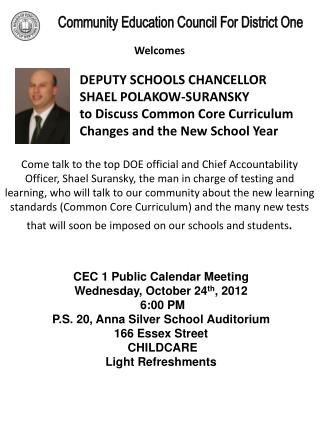 CEC 1 Public Calendar Meeting Wednesday, October  24 th , 2012 6:00 PM