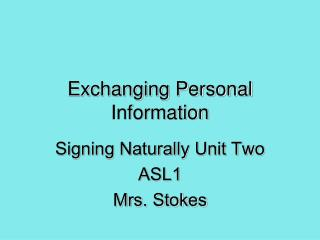 Exchanging Personal Information