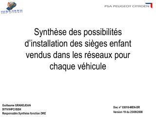 Guillaume GRANDJEAN DITV/IHPC/ISSH Responsable Synthèse fonction DRE
