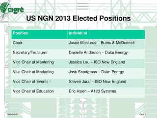 US NGN 2013 Elected Positions