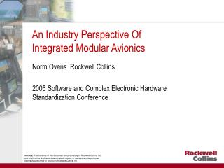 An Industry Perspective Of Integrated Modular Avionics