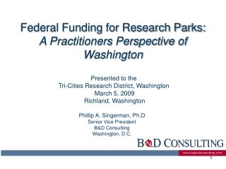 Federal Funding for Research Parks: A Practitioners Perspective of Washington