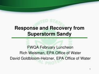 Response and Recovery from Superstorm Sandy