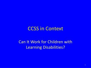 CCSS in Context