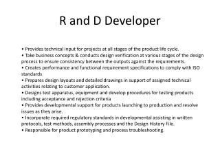 R and D Developer
