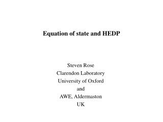 Equation of state and HEDP