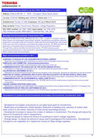 Toshiba Infraestrutura América do Sul LTDA  Site Report Information