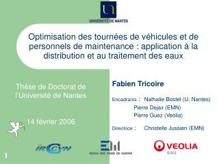 Fabien Tricoire Encadrants  :  Nathalie Bostel (U. Nantes) Pierre Dejax (EMN)