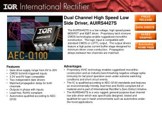 Dual Channel High Speed Low Side Driver, AUIRS4427S