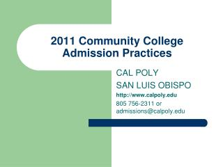 2011 Community College Admission Practices