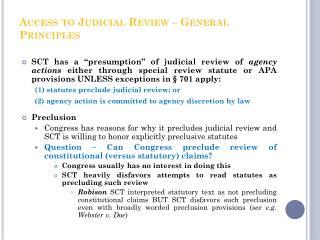 Access to Judicial Review – General Principles