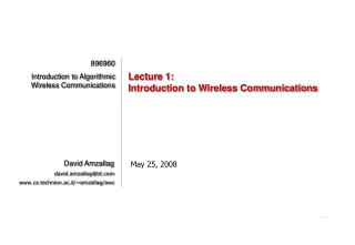 Lecture 1: Introduction to Wireless Communications
