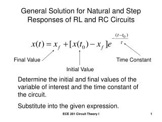 General Solution for Natural and Step Responses of RL and RC Circuits