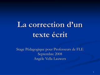 La correction d'un texte écrit