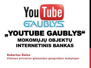 """"""" Youtube  GAUBLYS"""" mokom ų jų  objektų internetinis bankas"""
