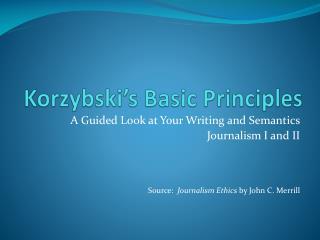Korzybski's Basic Principles