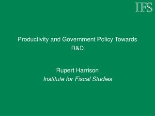 Productivity and Government Policy Towards RD