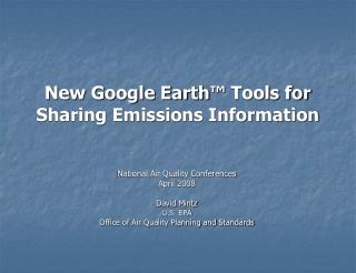 New Google Earth ™  Tools for Sharing Emissions Information